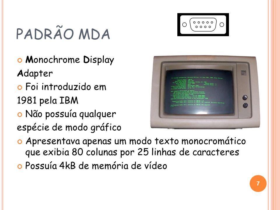 PADRÃO CGA Color Graphics Adapter Introduzido em 1981 Primeiro padrão de vídeo gráfico em cores Capacidade máxima para 16 cores simultâneas no modo texto Equipada com 16kB de memória Possuía 2 modos gráficos 320x200 com 4 cores simultâneas 640x200 em preto e branco 8