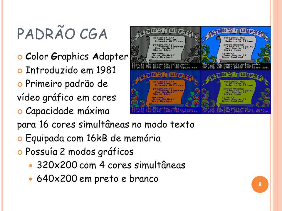 PADRÃO CGA Color Graphics Adapter Introduzido em 1981 Primeiro padrão de vídeo gráfico em cores Capacidade máxima para 16 cores simultâneas no modo te