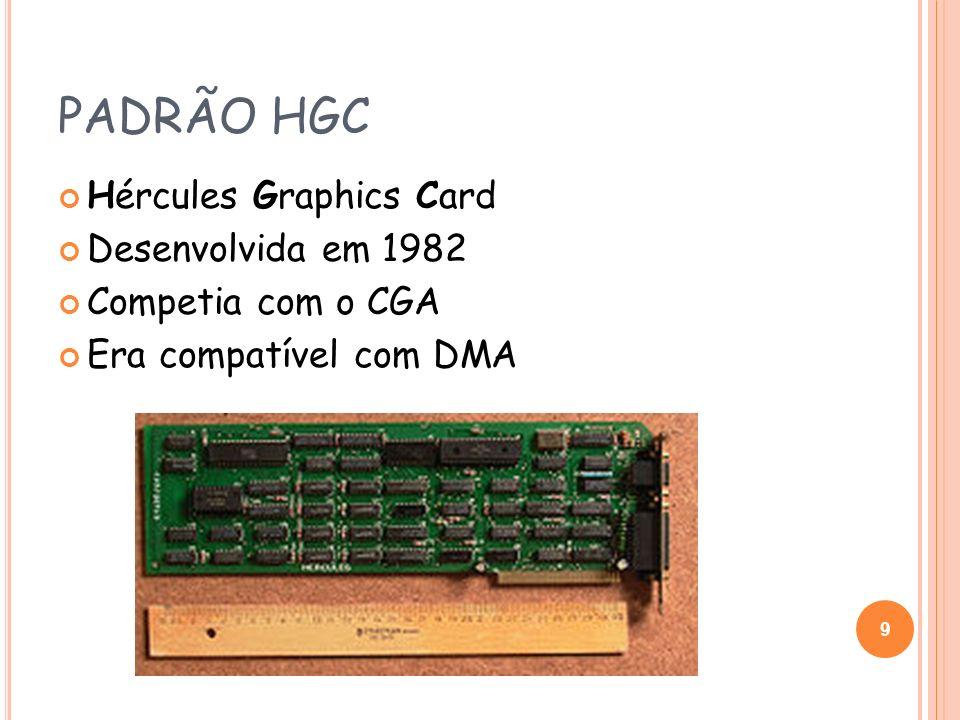 PADRÃO EGA Enhanced Graphics Adapter Introduzido em 1984 pela IBM Podia exibir gráficos em 320x200 a 16 cores Resolução máxima de 640x480 monocromático Foi introduzido o conceito de memória de vídeo expansível A capacidade máxima de memória era de 256 kB, mas as primeiras placas e a maioria tinham apenas 64 kB Mantinha total compatibilidade com CGA 10