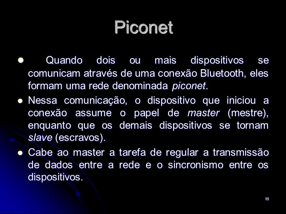 Piconet Quando dois ou mais dispositivos se comunicam através de uma conexão Bluetooth, eles formam uma rede denominada piconet. Quando dois ou mais d