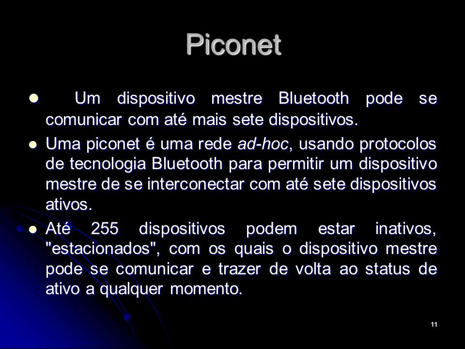 Piconet Um dispositivo mestre Bluetooth pode se comunicar com até mais sete dispositivos. Um dispositivo mestre Bluetooth pode se comunicar com até ma