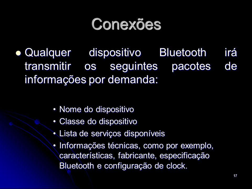 Conexões Qualquer dispositivo Bluetooth irá transmitir os seguintes pacotes de informações por demanda: Qualquer dispositivo Bluetooth irá transmitir