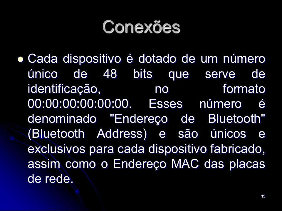 Conexões Cada dispositivo é dotado de um número único de 48 bits que serve de identificação, no formato 00:00:00:00:00:00. Esses número é denominado