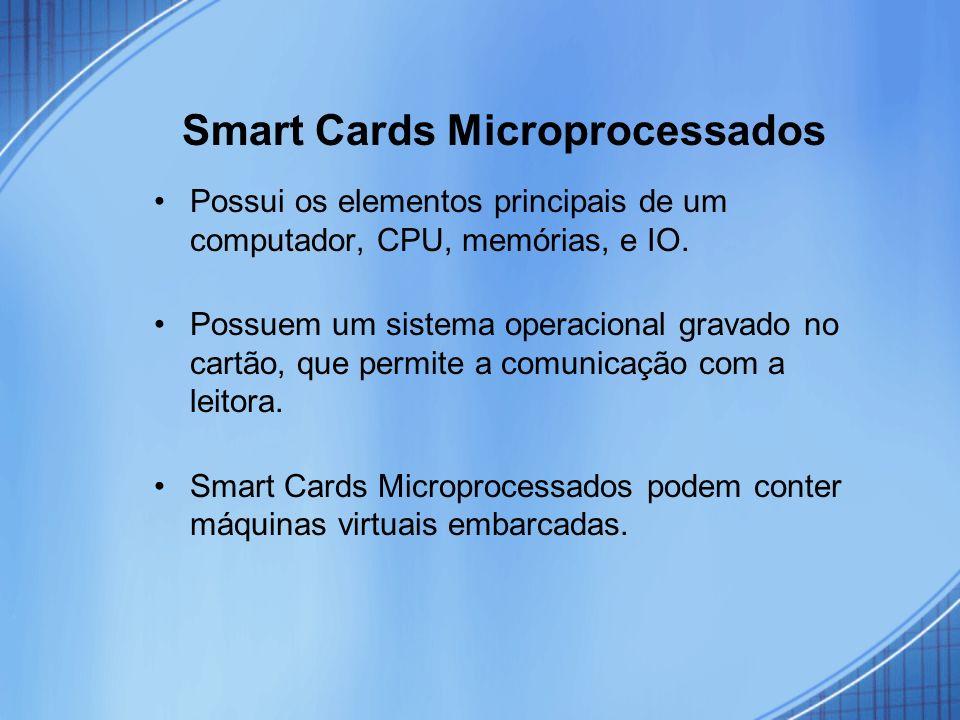 Smart Cards Microprocessados Possui os elementos principais de um computador, CPU, memórias, e IO. Possuem um sistema operacional gravado no cartão, q