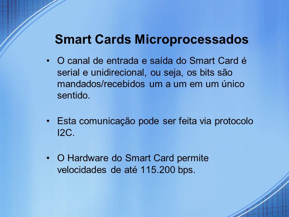 Smart Cards Microprocessados O canal de entrada e saída do Smart Card é serial e unidirecional, ou seja, os bits são mandados/recebidos um a um em um