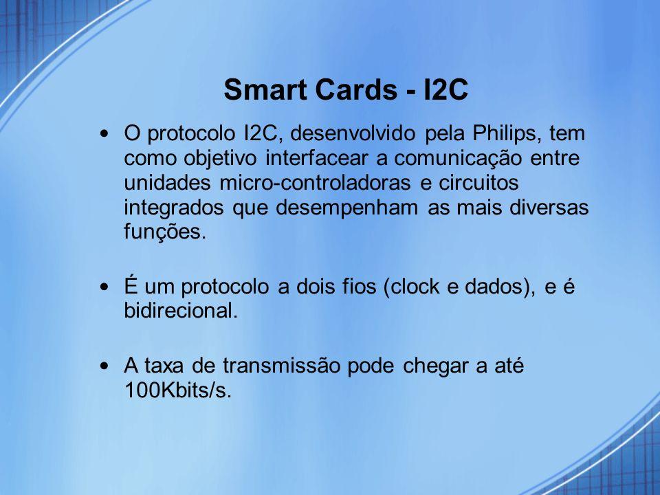 Smart Cards - I2C O protocolo I2C, desenvolvido pela Philips, tem como objetivo interfacear a comunicação entre unidades micro-controladoras e circuit