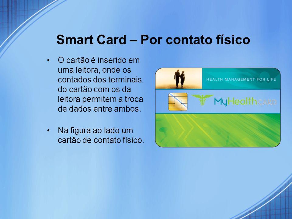 Smart Card – Por contato físico O cartão é inserido em uma leitora, onde os contados dos terminais do cartão com os da leitora permitem a troca de dad