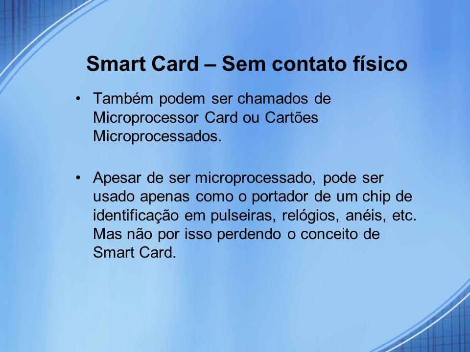 Smart Card – Sem contato físico Também podem ser chamados de Microprocessor Card ou Cartões Microprocessados. Apesar de ser microprocessado, pode ser