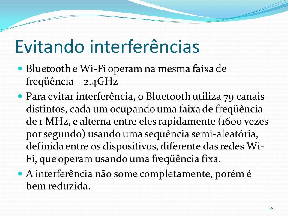 Evitando interferências Bluetooth e Wi-Fi operam na mesma faixa de freqüência – 2.4GHz Para evitar interferência, o Bluetooth utiliza 79 canais distin