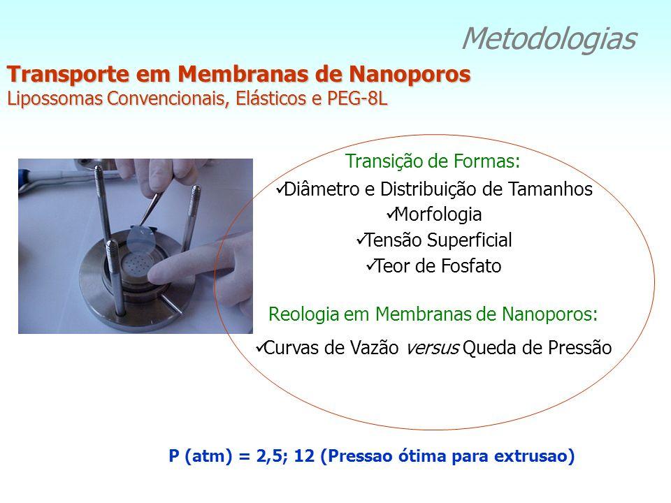 Metodologias Transporte em Membranas de Nanoporos Lipossomas Convencionais, Elásticos e PEG-8L P (atm) = 2,5; 12 (Pressao ótima para extrusao) Transiç