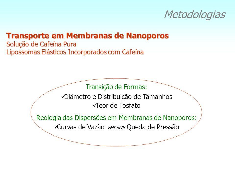 Metodologias Transição de Formas: Diâmetro e Distribuição de Tamanhos Teor de Fosfato Reologia das Dispersões em Membranas de Nanoporos: Curvas de Vaz
