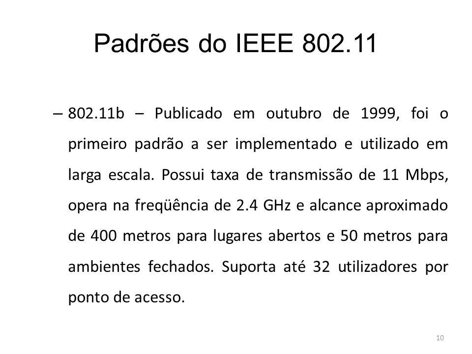 10 Padrões do IEEE 802.11 – 802.11b – Publicado em outubro de 1999, foi o primeiro padrão a ser implementado e utilizado em larga escala. Possui taxa