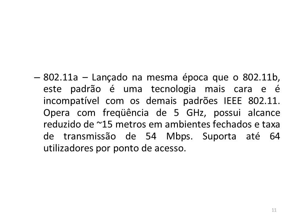 11 – 802.11a – Lançado na mesma época que o 802.11b, este padrão é uma tecnologia mais cara e é incompatível com os demais padrões IEEE 802.11. Opera