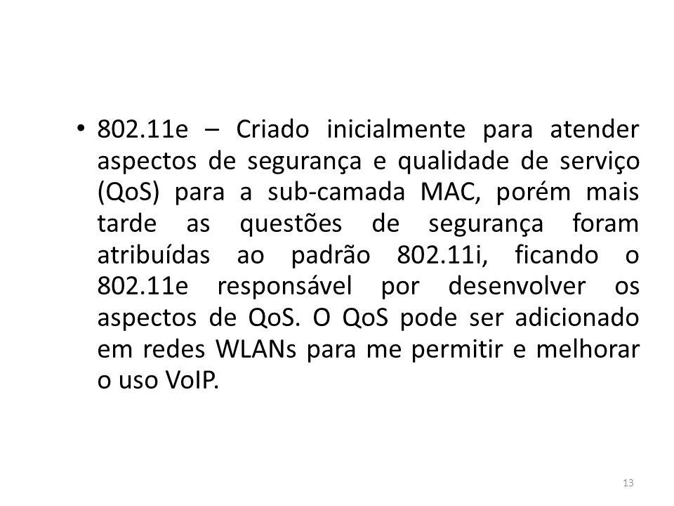 13 802.11e – Criado inicialmente para atender aspectos de segurança e qualidade de serviço (QoS) para a sub-camada MAC, porém mais tarde as questões d