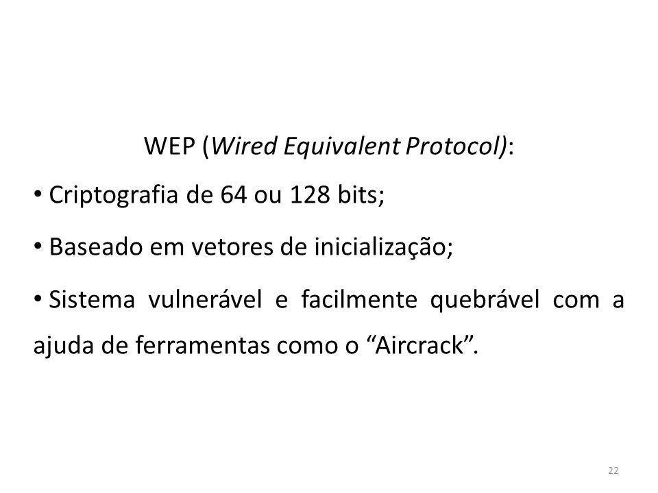 22 WEP (Wired Equivalent Protocol): Criptografia de 64 ou 128 bits; Baseado em vetores de inicialização; Sistema vulnerável e facilmente quebrável com