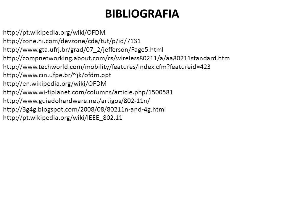 BIBLIOGRAFIA http://pt.wikipedia.org/wiki/OFDM http://zone.ni.com/devzone/cda/tut/p/id/7131 http://www.gta.ufrj.br/grad/07_2/jefferson/Page5.html http