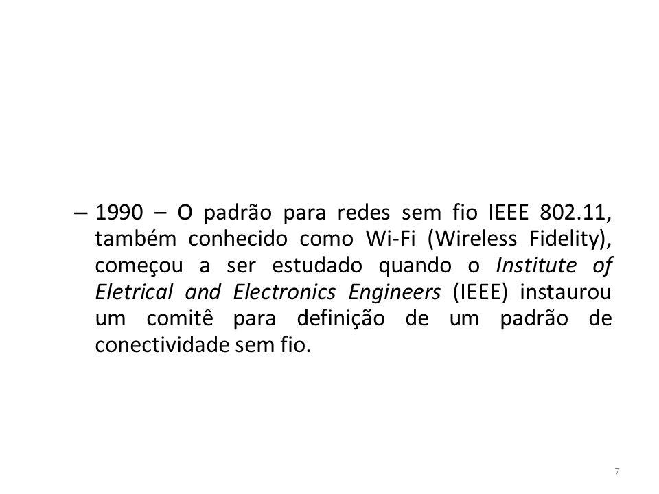 7 – 1990 – O padrão para redes sem fio IEEE 802.11, também conhecido como Wi-Fi (Wireless Fidelity), começou a ser estudado quando o Institute of Elet
