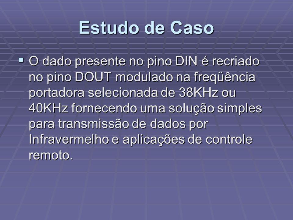 O dado presente no pino DIN é recriado no pino DOUT modulado na freqüência portadora selecionada de 38KHz ou 40KHz fornecendo uma solução simples para