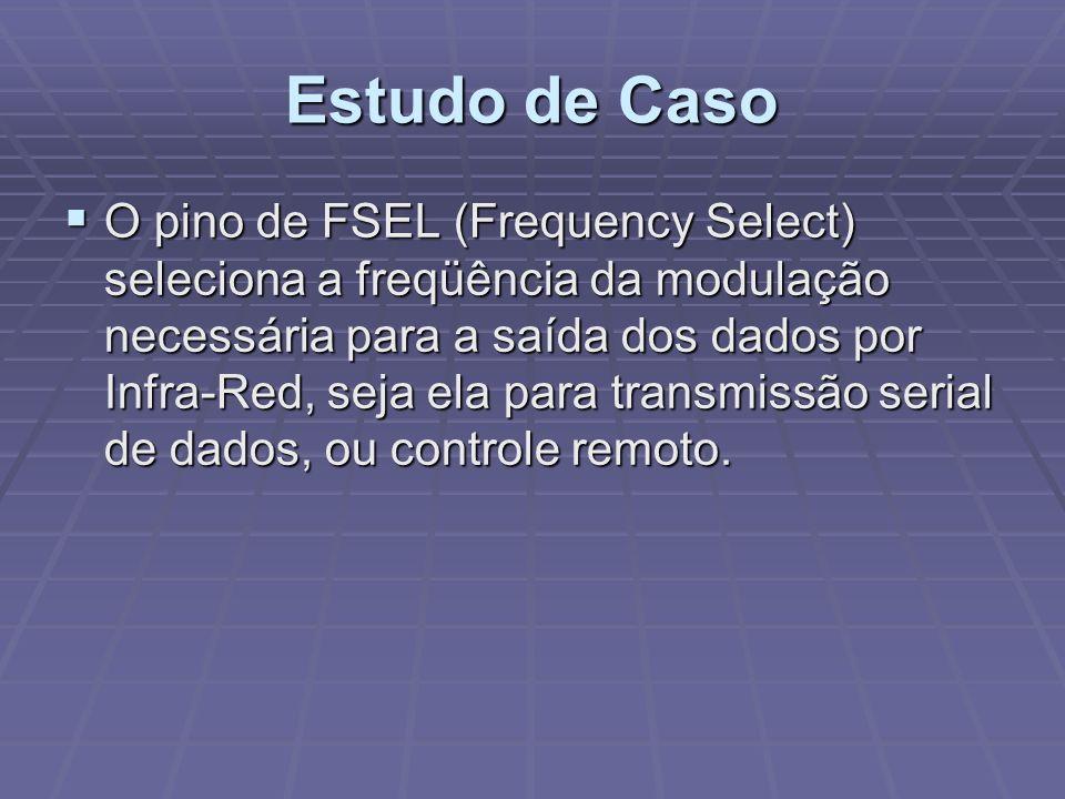 Estudo de Caso O pino de FSEL (Frequency Select) seleciona a freqüência da modulação necessária para a saída dos dados por Infra-Red, seja ela para tr