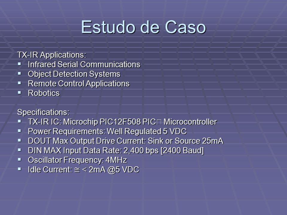 Estudo de Caso TX-IR Applications: Infrared Serial Communications Infrared Serial Communications Object Detection Systems Object Detection Systems Rem