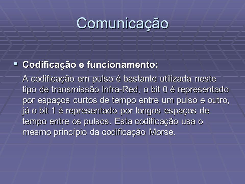 Comunicação Codificação e funcionamento: Codificação e funcionamento: A codificação em pulso é bastante utilizada neste tipo de transmissão Infra-Red,