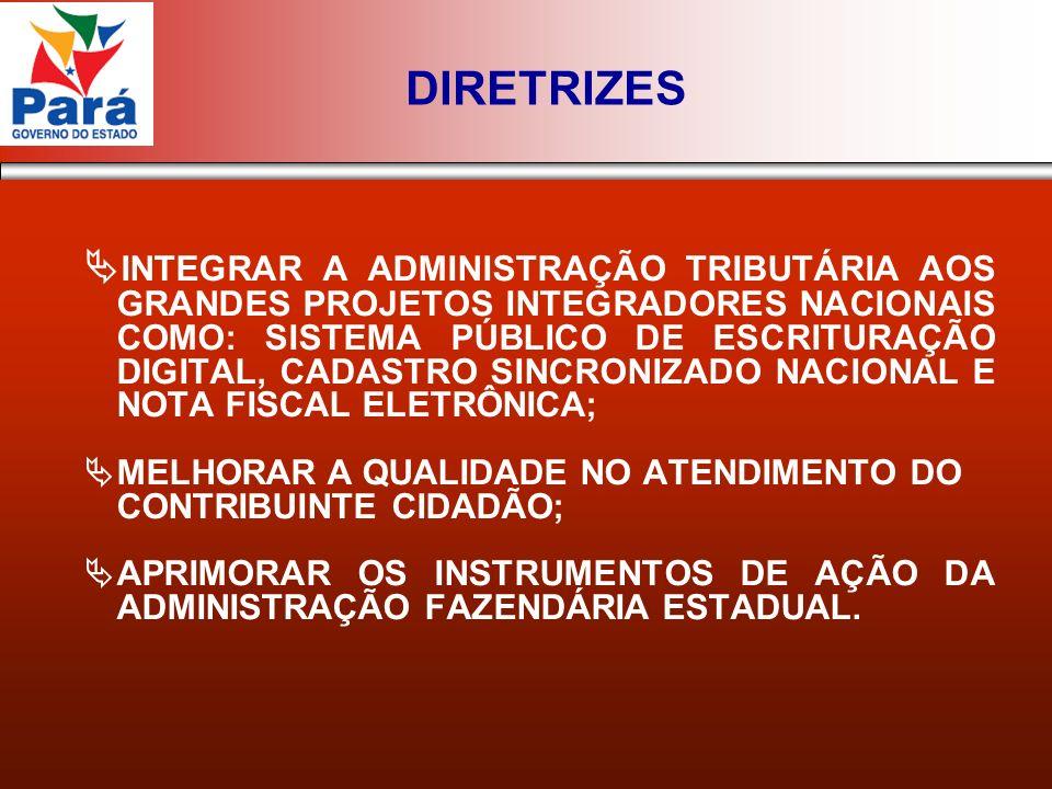 INTEGRAR A ADMINISTRAÇÃO TRIBUTÁRIA AOS GRANDES PROJETOS INTEGRADORES NACIONAIS COMO: SISTEMA PÚBLICO DE ESCRITURAÇÃO DIGITAL, CADASTRO SINCRONIZADO NACIONAL E NOTA FISCAL ELETRÔNICA; MELHORAR A QUALIDADE NO ATENDIMENTO DO CONTRIBUINTE CIDADÃO; APRIMORAR OS INSTRUMENTOS DE AÇÃO DA ADMINISTRAÇÃO FAZENDÁRIA ESTADUAL.