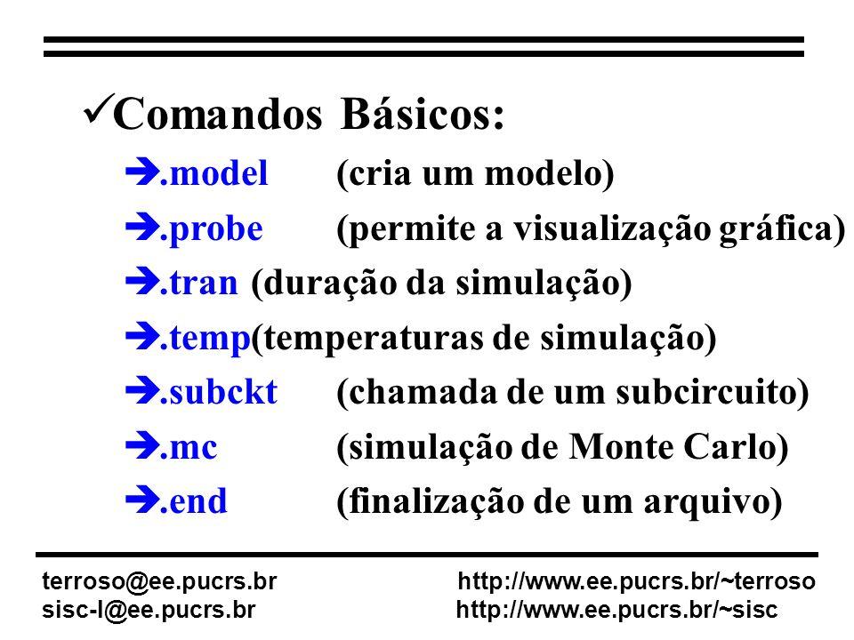 Comandos Básicos:.model (cria um modelo).probe(permite a visualização gráfica).tran(duração da simulação).temp(temperaturas de simulação).subckt(chamada de um subcircuito).mc(simulação de Monte Carlo).end(finalização de um arquivo) terroso@ee.pucrs.br http://www.ee.pucrs.br/~terroso sisc-l@ee.pucrs.br http://www.ee.pucrs.br/~sisc
