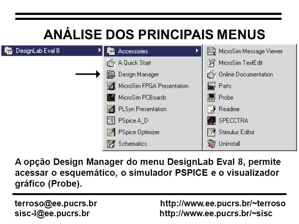 ANÁLISE DOS PRINCIPAIS MENUS A opção Design Manager do menu DesignLab Eval 8, permite acessar o esquemático, o simulador PSPICE e o visualizador gráfico (Probe).