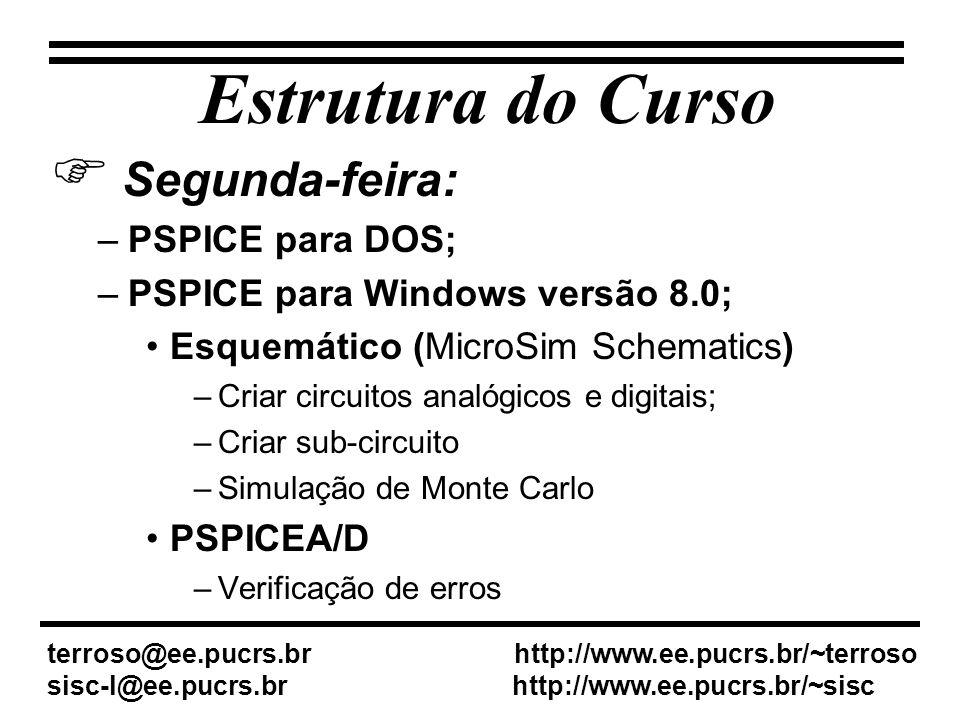 Estrutura do Curso Segunda-feira: –PSPICE para DOS; –PSPICE para Windows versão 8.0; Esquemático (MicroSim Schematics) –Criar circuitos analógicos e digitais; –Criar sub-circuito –Simulação de Monte Carlo PSPICEA/D –Verificação de erros terroso@ee.pucrs.br http://www.ee.pucrs.br/~terroso sisc-l@ee.pucrs.br http://www.ee.pucrs.br/~sisc