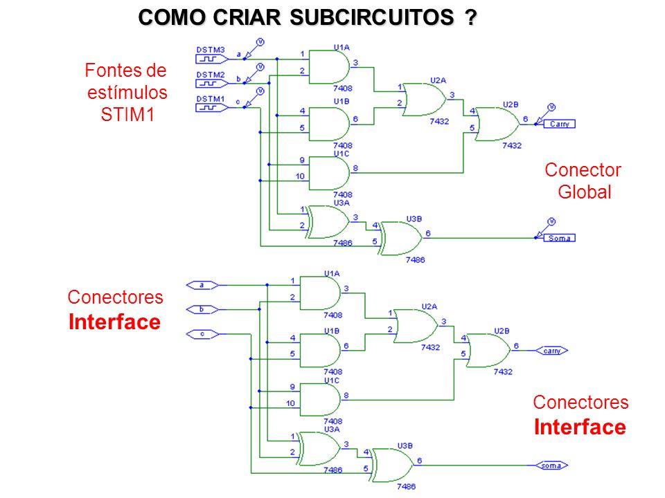 Fontes de estímulos STIM1 Conectores Interface Conectores Interface Conector Global COMO CRIAR SUBCIRCUITOS ?
