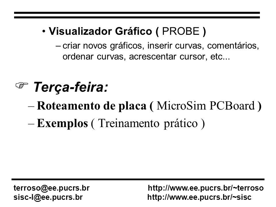 Esquemático (Microsim Schematics) Simulador (PSPICE A/D) Roteador de placa (PCBoard) Visualizador Gráfico (Probe)
