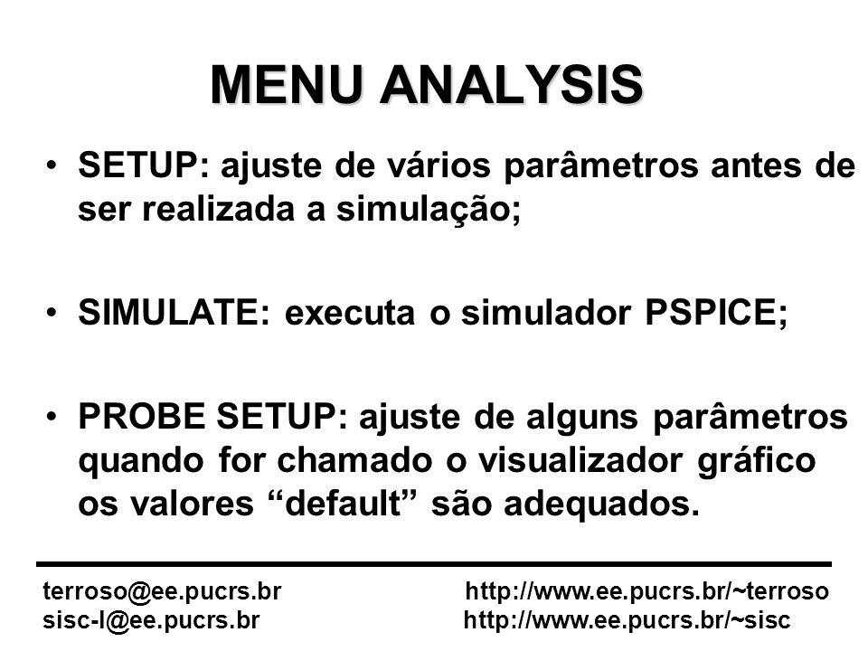 MENU ANALYSIS SETUP: ajuste de vários parâmetros antes de ser realizada a simulação; SIMULATE: executa o simulador PSPICE; PROBE SETUP: ajuste de alguns parâmetros quando for chamado o visualizador gráfico os valores default são adequados.