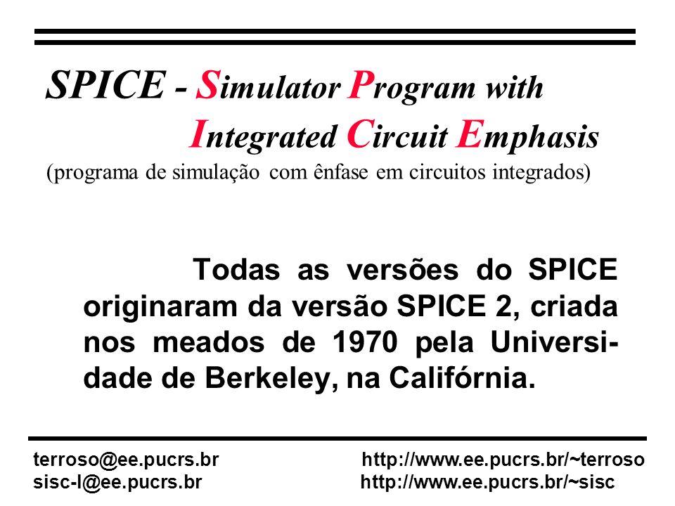 SPICE - S imulator P rogram with I ntegrated C ircuit E mphasis (programa de simulação com ênfase em circuitos integrados) Todas as versões do SPICE originaram da versão SPICE 2, criada nos meados de 1970 pela Universi- dade de Berkeley, na Califórnia.