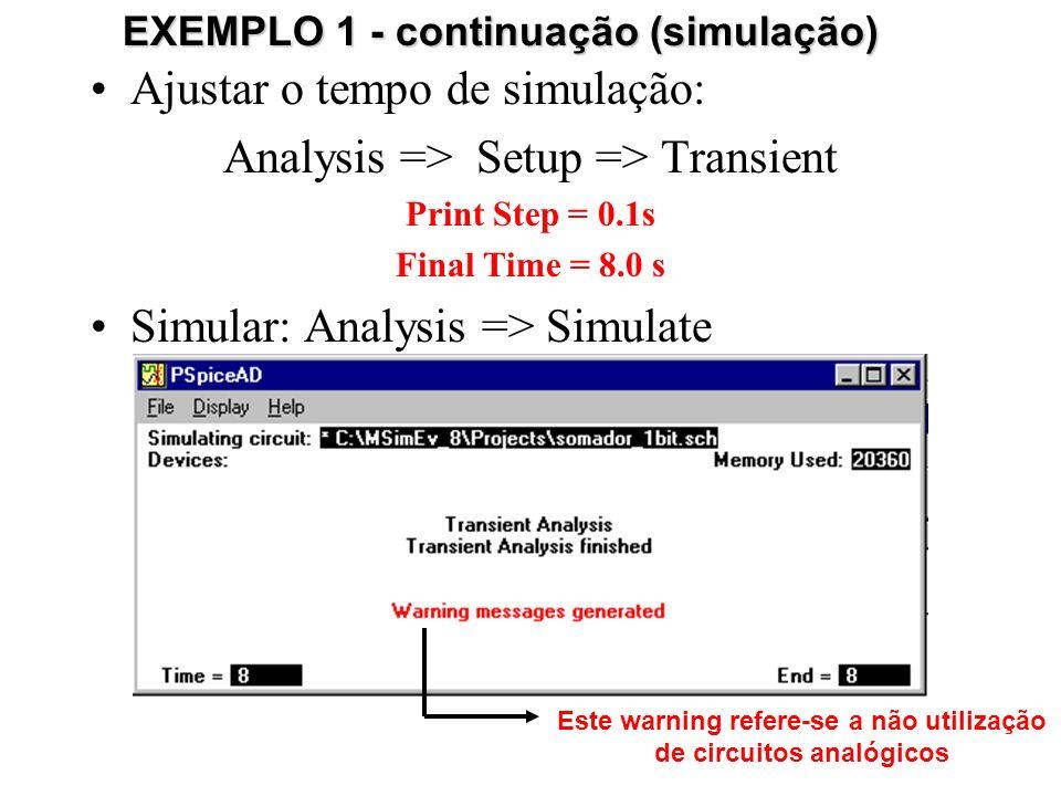 Ajustar o tempo de simulação: Analysis => Setup => Transient Print Step = 0.1s Final Time = 8.0 s Simular: Analysis => Simulate EXEMPLO 1 - continuação (simulação) Este warning refere-se a não utilização de circuitos analógicos
