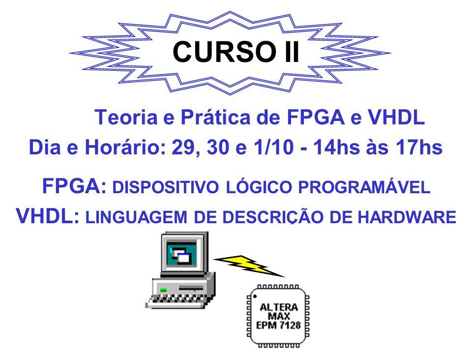 CURSO II Teoria e Prática de FPGA e VHDL Dia e Horário: 29, 30 e 1/10 - 14hs às 17hs FPGA: DISPOSITIVO LÓGICO PROGRAMÁVEL VHDL: LINGUAGEM DE DESCRIÇÃO DE HARDWARE