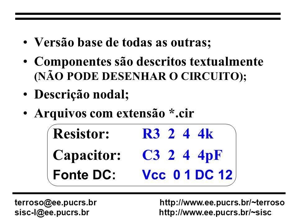 V0 4 0 DC 12V V1 0 3 DC 12V Vin 0 1 AC 1 SIN(0 4 1KHz ) R1 1 5 2Kohm R2 5 2 1Kohm X_opamp 0 5 4 3 2 LM324.tran 0.1ms 18ms.lib.probe.end terroso@ee.pucrs.br http://www.ee.pucrs.br/~terroso sisc-l@ee.pucrs.br http://www.ee.pucrs.br/~sisc Exemplo