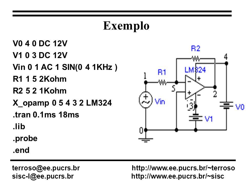 Flip-Flop JK: 74109 Terra: port => EGND Fonte DC: source => VDC Clock: source => DigClock - Ajustar fonte DC (DC = 5) - Ajustar o clock ( DELAY = 0; ONTIME = 0.1us; OFFTIME = 0.1us ) EXEMPLO 2 - Criando o ckt