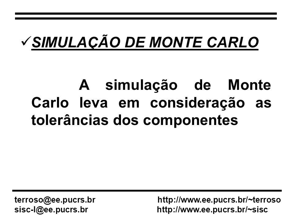 SIMULAÇÃO DE MONTE CARLO A simulação de Monte Carlo leva em consideração as tolerâncias dos componentes terroso@ee.pucrs.br http://www.ee.pucrs.br/~terroso sisc-l@ee.pucrs.br http://www.ee.pucrs.br/~sisc