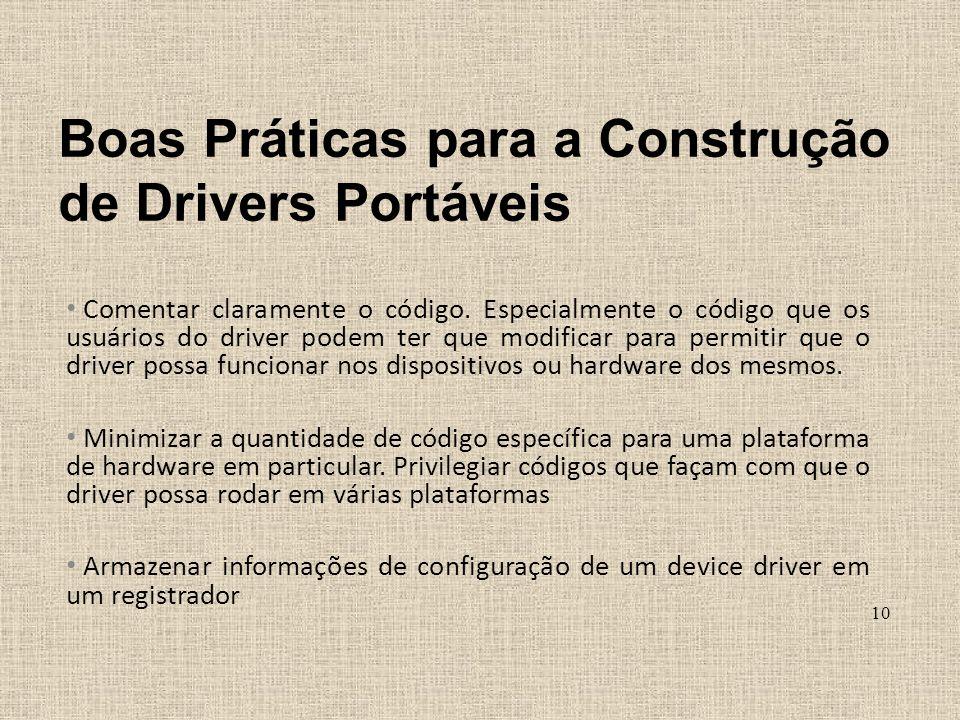 Boas Práticas para a Construção de Drivers Portáveis Comentar claramente o código. Especialmente o código que os usuários do driver podem ter que modi