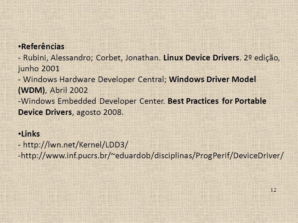 Referências - Rubini, Alessandro; Corbet, Jonathan. Linux Device Drivers. 2º edição, junho 2001 - Windows Hardware Developer Central; Windows Driver M