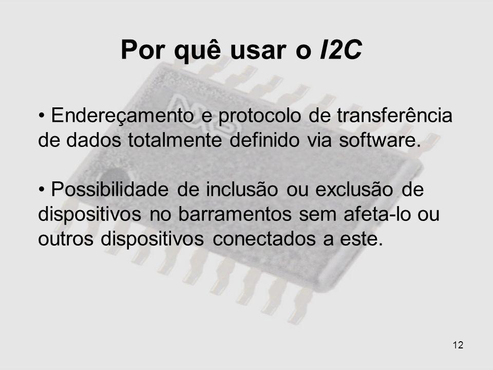 12 Por quê usar o I2C Endereçamento e protocolo de transferência de dados totalmente definido via software. Possibilidade de inclusão ou exclusão de d