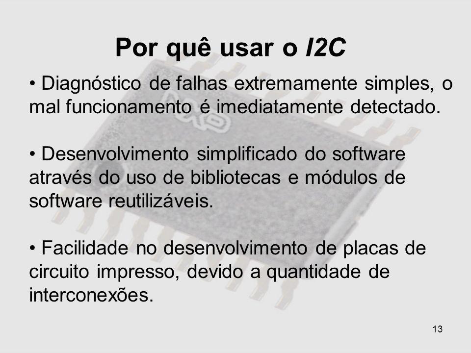 13 Por quê usar o I2C Diagnóstico de falhas extremamente simples, o mal funcionamento é imediatamente detectado. Desenvolvimento simplificado do softw