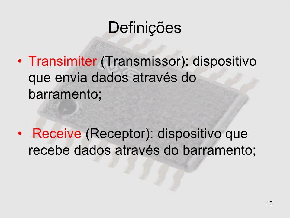 15 Definições Transimiter (Transmissor): dispositivo que envia dados através do barramento; Receive (Receptor): dispositivo que recebe dados através d