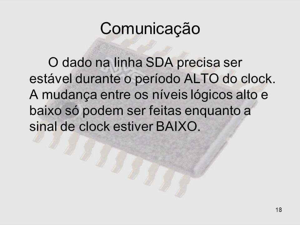 18 Comunicação O dado na linha SDA precisa ser estável durante o período ALTO do clock. A mudança entre os níveis lógicos alto e baixo só podem ser fe
