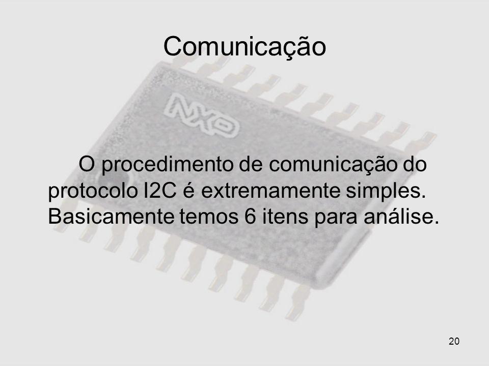 20 Comunicação O procedimento de comunicação do protocolo I2C é extremamente simples. Basicamente temos 6 itens para análise.