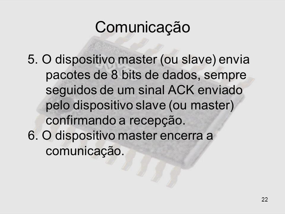 22 Comunicação 5. O dispositivo master (ou slave) envia pacotes de 8 bits de dados, sempre seguidos de um sinal ACK enviado pelo dispositivo slave (ou