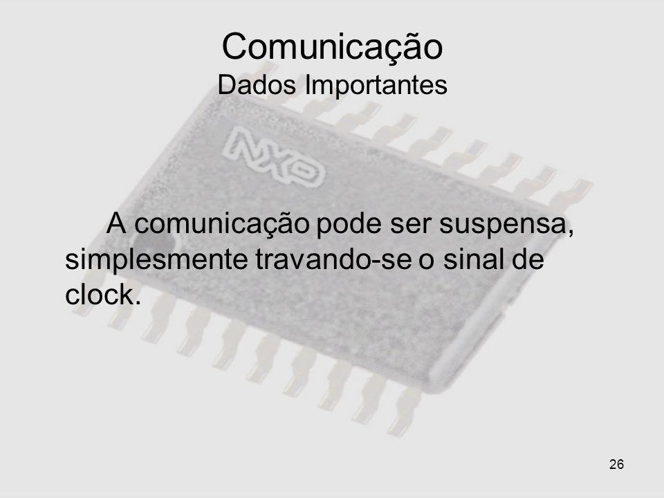 26 Comunicação Dados Importantes A comunicação pode ser suspensa, simplesmente travando-se o sinal de clock.