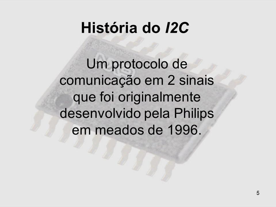 6 História do I2C Atualmente este protocolo está amplamente difundido e interconecta uma ampla gama de dispositivos eletrônicos.
