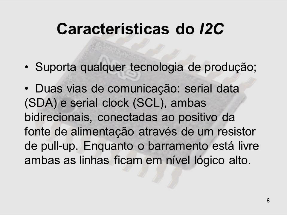 8 Características do I2C Suporta qualquer tecnologia de produção; Duas vias de comunicação: serial data (SDA) e serial clock (SCL), ambas bidirecionai