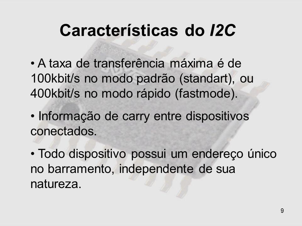 9 Características do I2C A taxa de transferência máxima é de 100kbit/s no modo padrão (standart), ou 400kbit/s no modo rápido (fastmode). Informação d